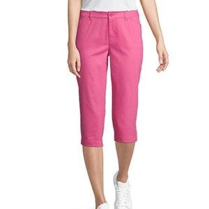 NWT Pink Cotton Straight Cropped Capris Pants 12